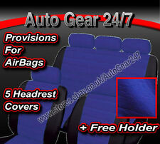 Blue Black Quilted Leather Look Car Seat Covers.5 Headrest Air Bag Suitable Set