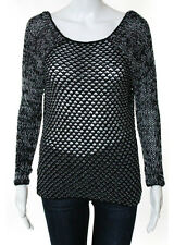 Helmut Lang Multi Colored Cotton Long Sleeve Scoop Neck Sweater Size P