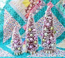 Glitterville Pink Sugar Sisal Christmas Easter Bottle Brush Trees S/3
