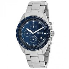 Fossil CH3030 Men's Sport Blue Dial Steel Bracelet Chrono Watch