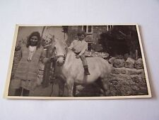 Vintage Rp Postcard Boy Riding a White Horse