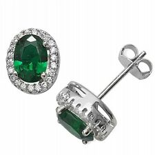Sterling Silver Green & Clear Cubic Zirconia Oval Stud Earrings Emerald Coloured