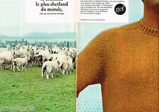 PUBLICITE ADVERTISING 055  1967  GEF  pulls homme en laine SHETLAND  ( 2 pages)