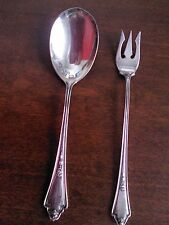 Antique GM Co EP Pat 1914 Silver Plate 1 Sugar Spoon and 1 Pickle Fork