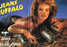 PUBLICITE ADVERTISING 085  1985  les JEANS femme BUFFALO ( 2 pages)