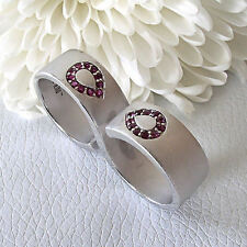 Love Peace and Hope True Blood Sandblasted Sterling Silver Ruby Double Ring  7.5