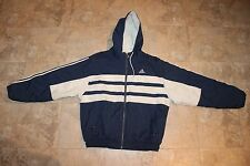 Adidas Trefoil Vintage 90s Puffer Jacket Coat Size M Hoodie Navy/White