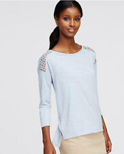 Ann Taylor - MEDIUM (8-10) Blue 3/4 Sleeve Lace Shoulder Tee $39.50 (T30H)