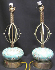 Set of 2 Mid-Century Modern Turquoise Atomic Table Lamps