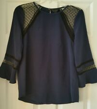 J Crew Silk flutter-sleeve top in swiss-dot E6253 Navy Size 4 $148 Sold Out