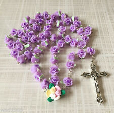 Catholic ROSARY-PURPLE Rose Flower soft Ceramic bead with a Crucifix - NEW