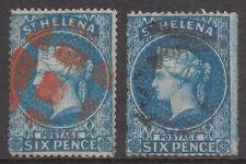 St. Helena 1861 #2 #2a usado victoria sello áspera y perforaciones de corte limpio