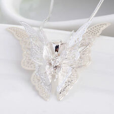Women Fashion 925 Sterling Silver Plated Butterfly Pendant Necklace Jewelry New