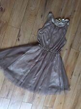 Ladies Chocolate Copper Colour Party Dress Sz 8 EUR 34 Stretchy Net Lace