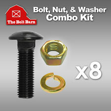 (8) 5/8-11x3 Grade 8 Full Thread Carriage Bolts with Nuts and Lock Washers