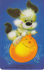 *Vintage 70's Swap/Playing Card - 1 Single - dog on bouncing ball