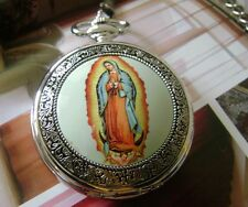 *Beautiful Our Lady Of Guadalupe mechanical Pocket watch Medal Christian Roman