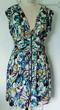 NEW FOREVER 21 ABSTRACT TURQUOISE PURPLE WHITE ZIP FRONT EMPIRE WAIST DRESS L