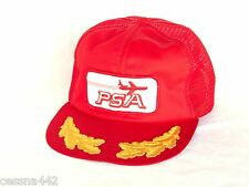 PSA Airlines Aviation SAN DIEGO VINTAGE Captain's Hat - Trucker RED - Embroidery