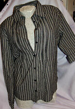 Shirt Tunika  Bluse schwarz weiß gestreift  G.L/XL 40/42   int.Nr.13