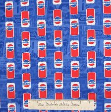 Summer Fabric - Vintage Pepsi Cans on Medium Blue - Camelot Cottons YARD