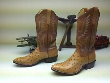 VINTAGE MADE IN USA  RIOS OF MERCEDES OSTRICH COWBOY WESTERN  BOOTS 9 B