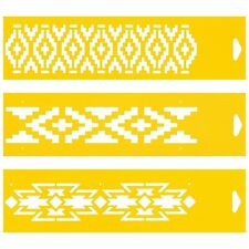 3 Stencils Cake Wall Airbrush Decorating Drawing Template Aztec Ethnic Pattern
