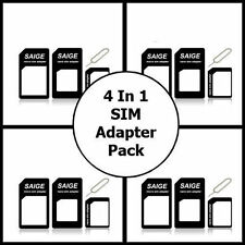 4 in 1 PACK NANO TO MICRO & STANDARD SIM CARD ADAPTER FOR iPHONE 6 6+ 5 4S 4 4G