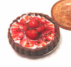 1:12 Scale Strawberry Flan Tart Dolls House Miniature Kitchen Dessert Accessory
