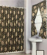 Brown/Beige Shower Curtain Drapes and Window Set w/ Liner+Rings  NEW