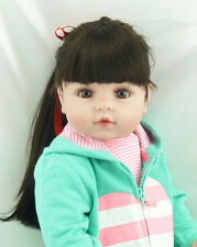 "22"" Reborn Toddler Dolls Soft Vinyl Long Hair Adora Girl doll Gift Boneca"