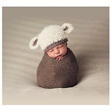 Hobees Cute Newborn Boy Girl Baby Costume Knitted Photography Props Lamb Hat