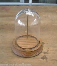 """3"""" x 4"""" Glass Display Dome With 4"""" Wood Base Pocket Watch Collectible USED"""