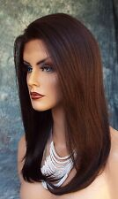 HUMAN HAIR BLEND WIG HEAT SAFE LACE FRONT CLR #4 EXQUISITE CLASSY US SELLER 230