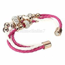 BRACELET-CORDONS TRESSES BLANC/ROSE-PERLES DOREE ET STRASS-FERMOIR MAGNETIQUE