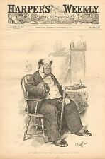 Political Cartoon, W.J. Florence As Captain Cuttle, 1888 Antique Art Print