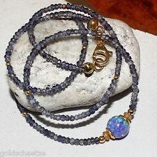 Iolith Opal Kette –925 Silber vergoldet–  synth. Opal - blau Wasser Saphir  44cm