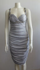 Faviana Couture Silver Gray Ruched Cut-Out Back Beaded Gown Prom Cruise Party L