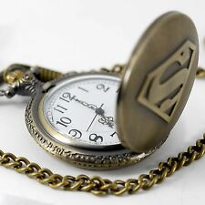 SUPERMAN  COMICS SUPERHERO FILM MOVIE DVD ANTIQUE BRONZE ENGRAVED POCKET WATCH