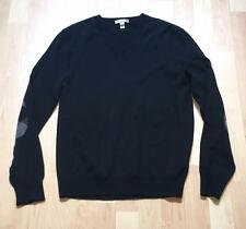 Burberry Brit Black DOCKLEY Wool Sweater w/ Elbow Patches Mens sz Medium