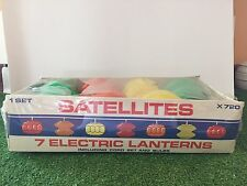 Rare New Set Of Seven Lighted Blow Mold Satellite Party/RV/Patio Lights Sealed
