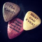 Personalised wooden plectrum pick for guitar 4 wood types