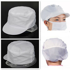 Elastic White PolyCotton Catering Baker Kitchen Cook Chef Hat Costume Snood Cap