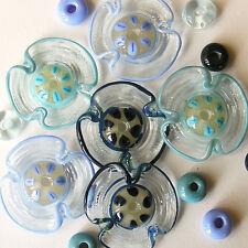 RachelArt - AquaMarine Flowers Glass Beads Lampwork Handmade Spacers 6+ 12
