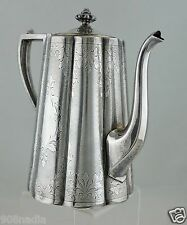 ANTIQUE SILVER PLATE TEA/COFFEE/CHOCOLATE POT HAND CHASED ETCHED VICTORIAN