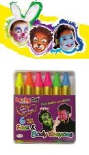 6 Face Body Paint Neon Colour Crayons Party Make Dress up Sticks Wedding Kid Fun