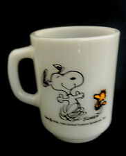 Fire King SNOOPY Woodstock LIFE IS PURE JOY Mug Anchor Hocking Milk Glass