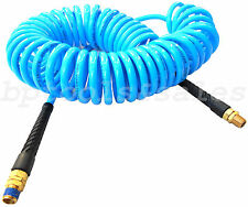 """1/4"""" x 30ft Blue Recoil Polyurethane Re Coil Air Hose Male Swivel Fittings"""