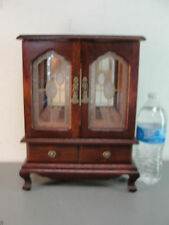 WOOD JEWELRY DISPLAY MUSIC STORAGE BOX CABINET ARMOIRE STAINED GLASS WOODEN 12""