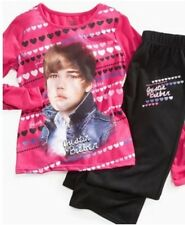 Justin BIEBER Cute HAIRCUT Pajamas NeW Girl's 10/12 Fushia Pink Shirt Pants Pjs